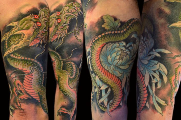 Dragons Flowers Japanese Tattoo