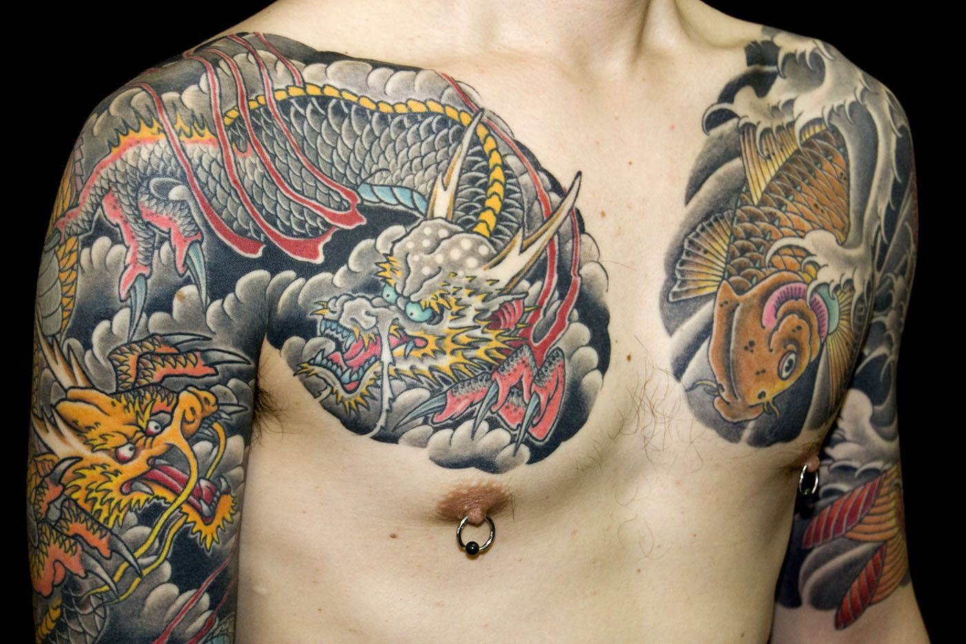 Chest Dragons Japanese Koi Tattoo