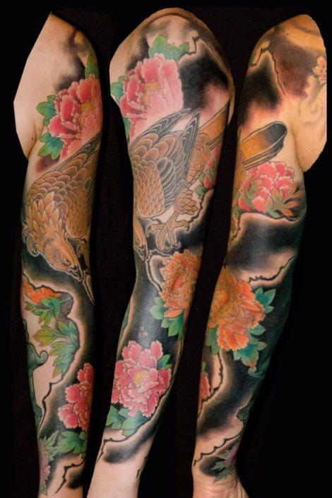 Birds Flowers Hawks/Eagles Japanese Sleeve Tattoo