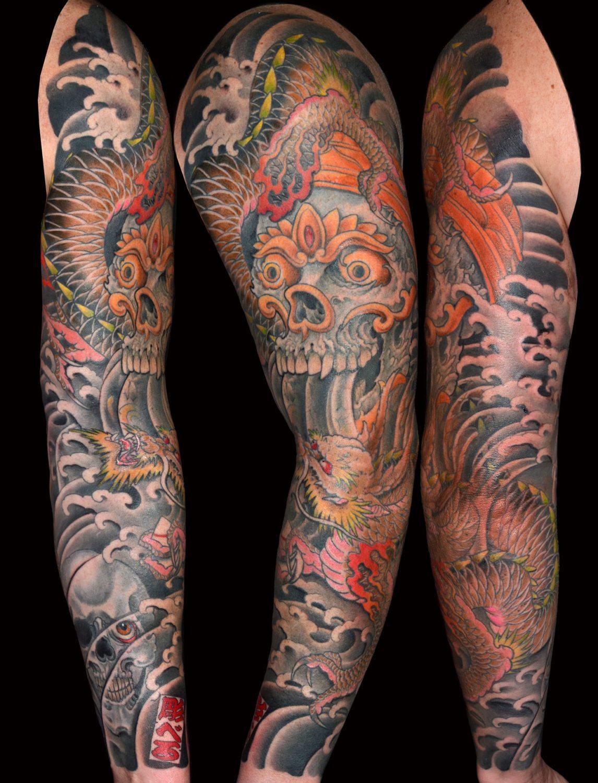 Dragons Japanese Skull Sleeve Tattoo
