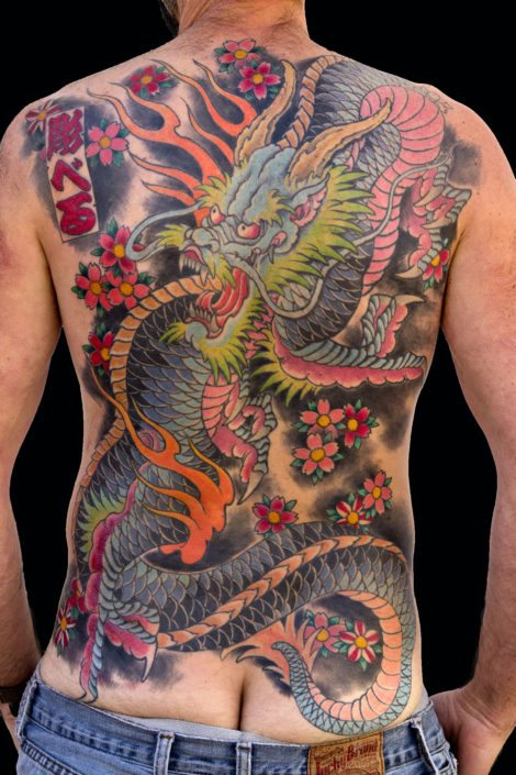 Backpiece Dragons Japanese Tattoo