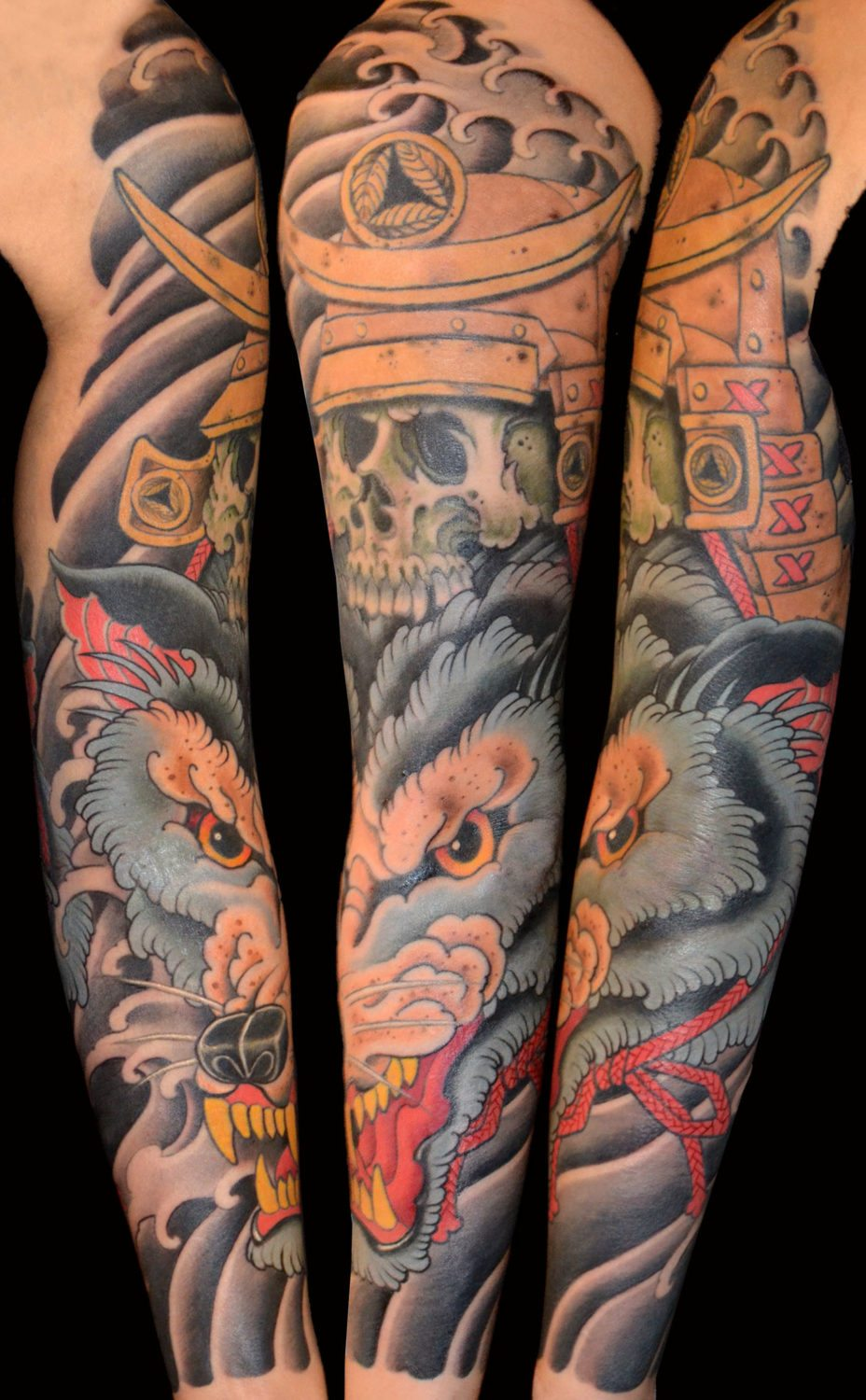 Japanese wolf tattoo sleeve
