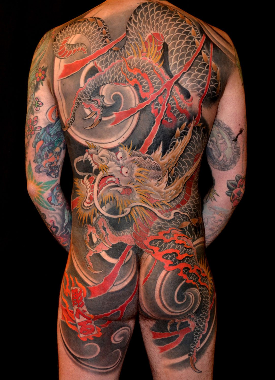 Backpiece Dragons Japanese Tattoo