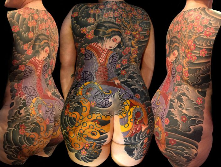 Backpiece Geisha Japanese Tattoo