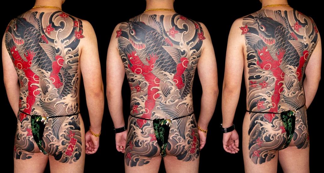 Animals Backpiece Japanese Koi Mythology Tattoo