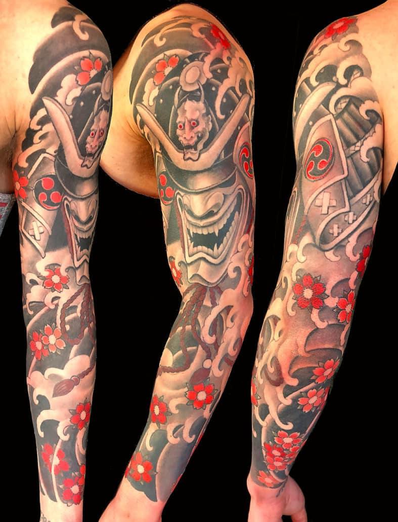 Black & Grey Japanese samurai Sleeve Tattoo