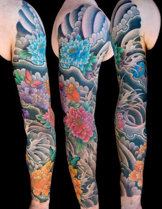 Flowers Japanese Sleeve Tattoo
