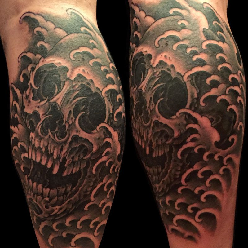 Black & Grey Skull Tattoo