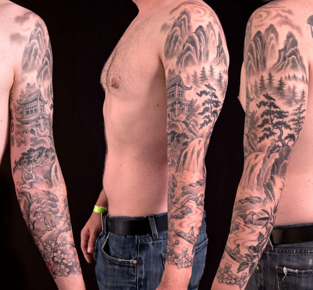 Black & Grey Realistic/Realism Sleeve Tattoo