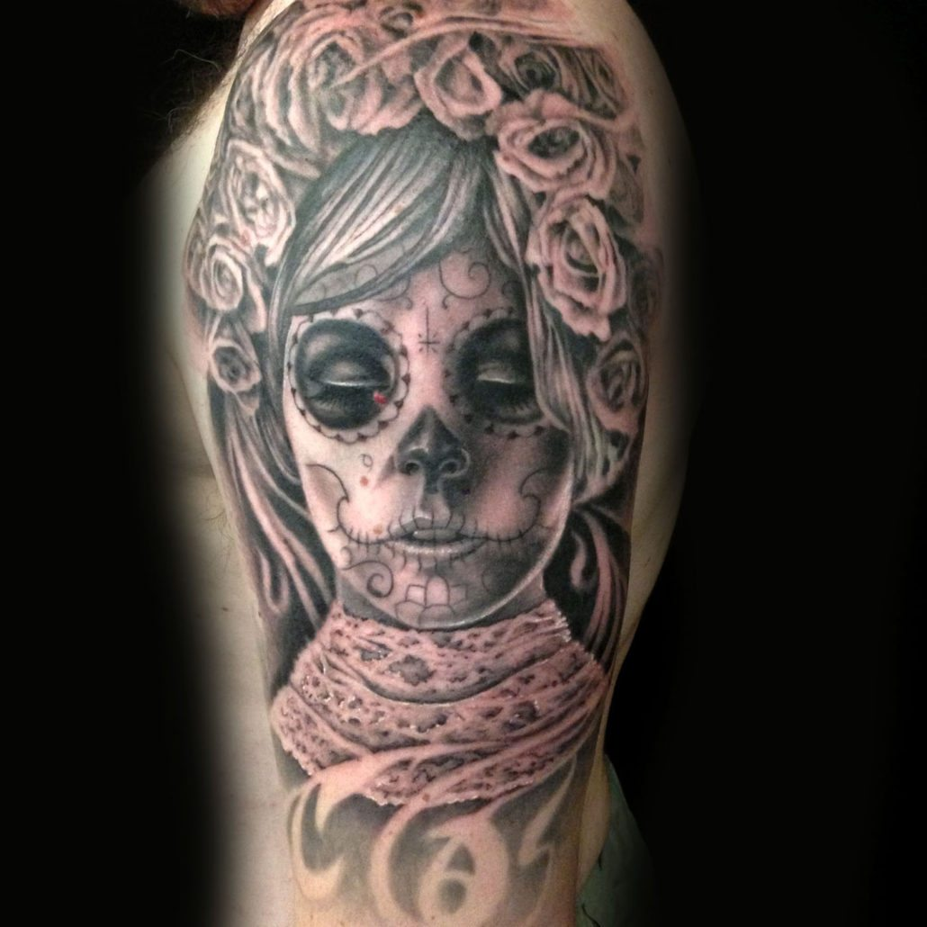 Black & Grey Catrina/Day of the Dead Flowers Girl Head Portraits Realistic/Realism Woman Tattoo