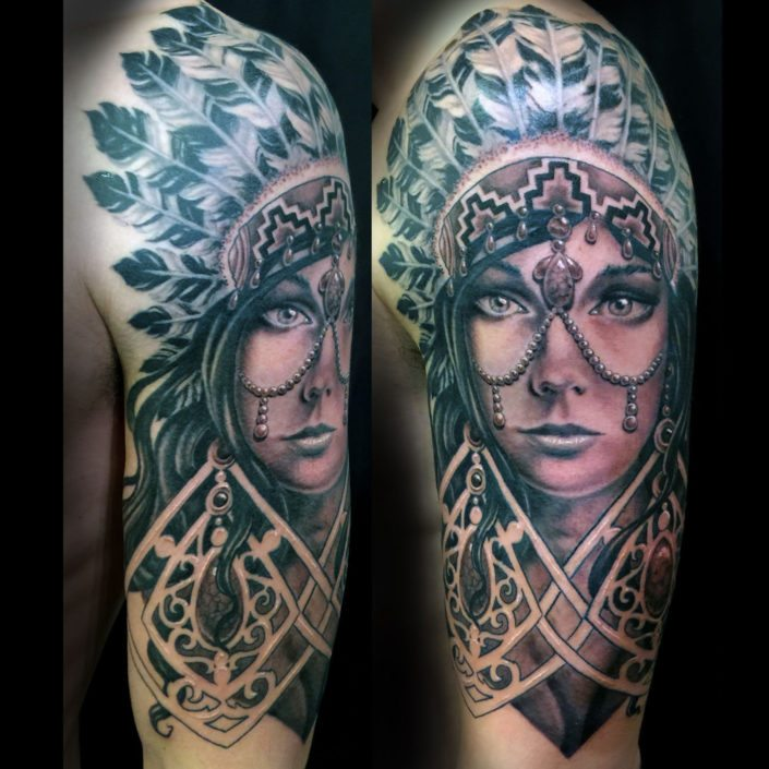 Arm Black & Grey Girl Head Portraits Realistic/Realism Woman Tattoo