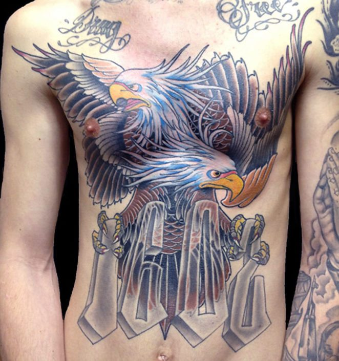Chest Hawks/Eagles Lettering Neo-Traditional Tattoo