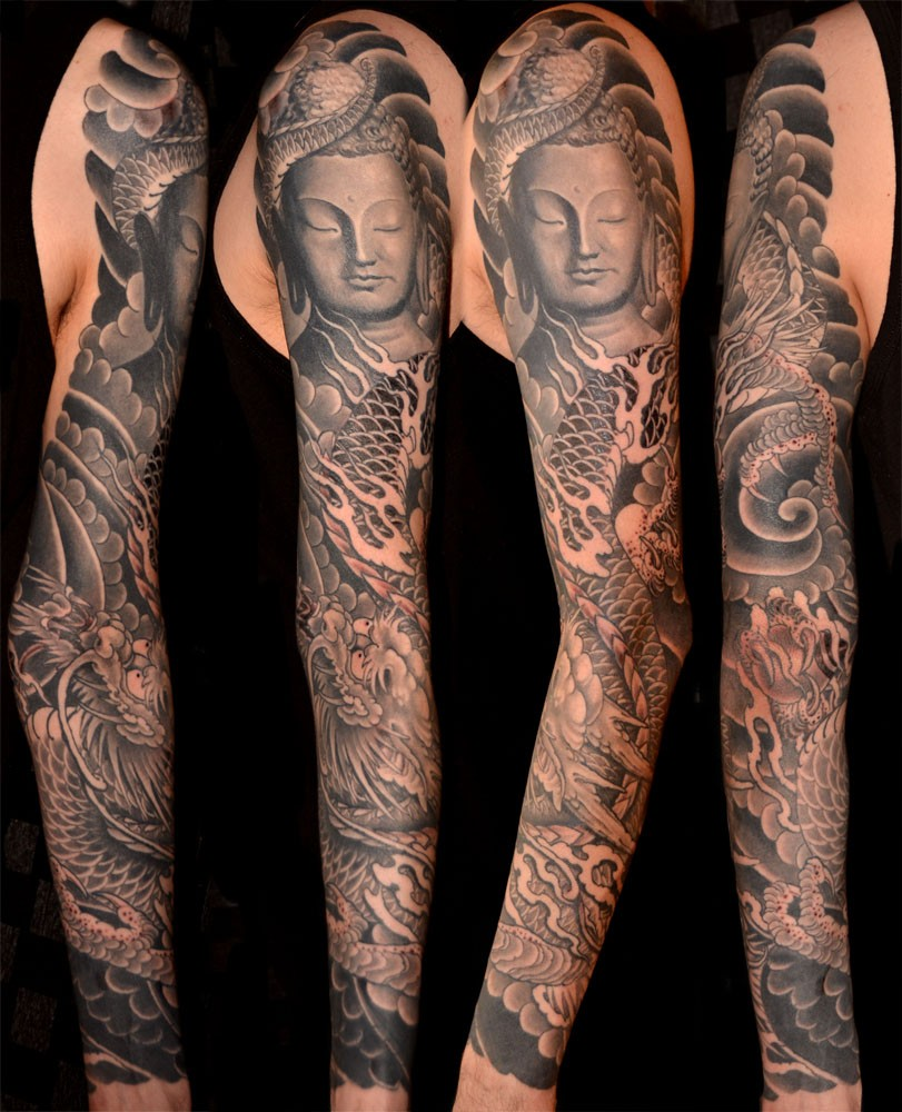 4da74dee4 Black & Grey Dragons Japanese Mythology Religious/Spiritual Sleeve Tattoo