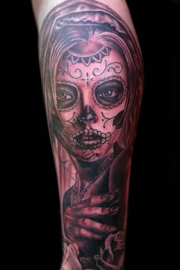 Catrina/Day of the Dead Dark/Horror Realistic/Realism Skull Tattoo