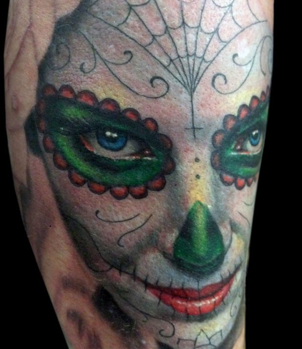 Catrina/Day of the Dead Girl Head Portraits Realistic/Realism Woman Tattoo