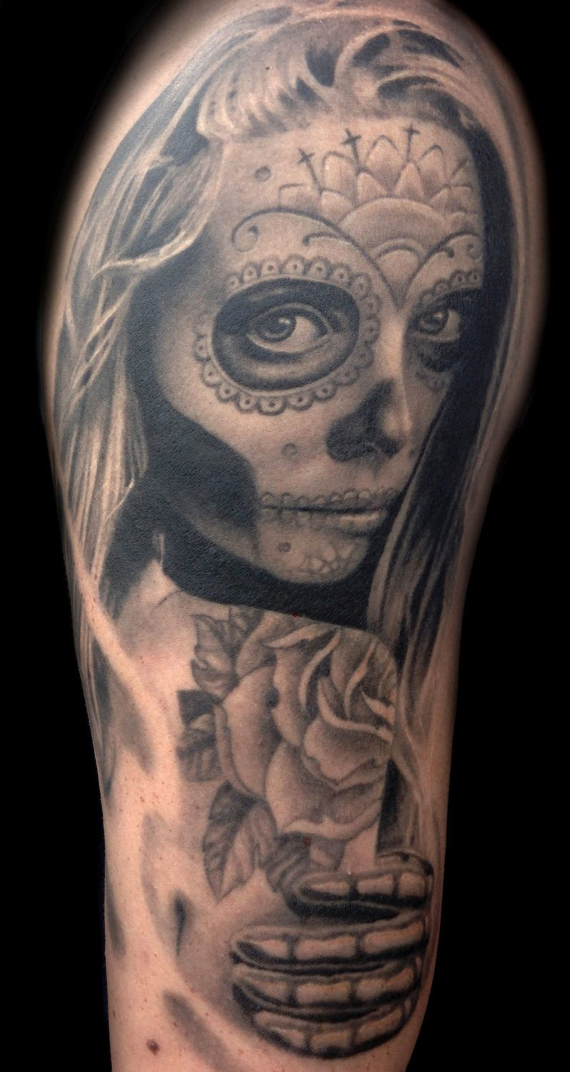 Black Grey Catrinaday Of The Dead Realisticrealism Woman Tattoo