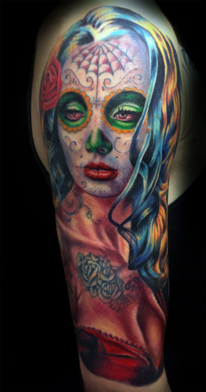 Catrinaday Of The Dead Realisticrealism Woman Tattoo Slave To