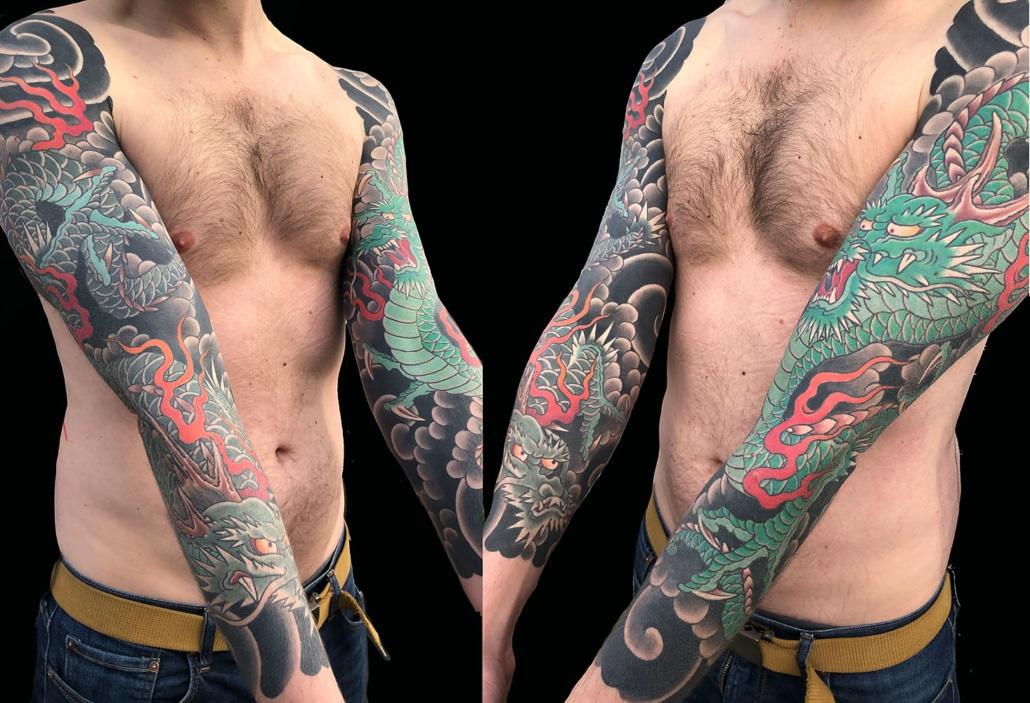 Dragons Japanese Sleeve Tattoo