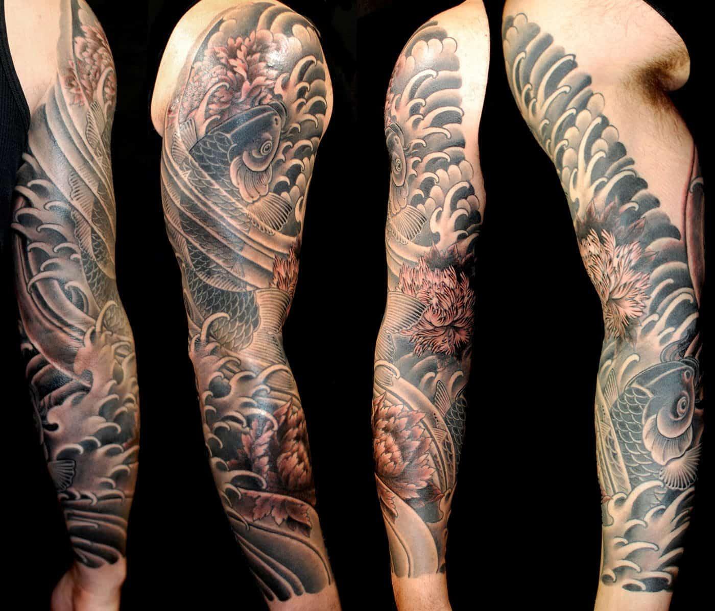 Black & Grey Flowers Japanese Koi Sleeve Tattoo