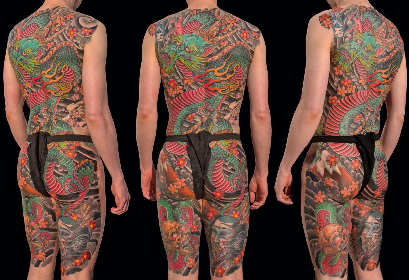 Backpiece Dragons Japanese Skull Tattoo