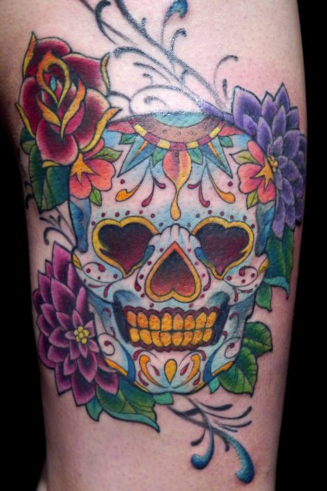 Catrina/Day of the Dead Flowers Skull Tattoo