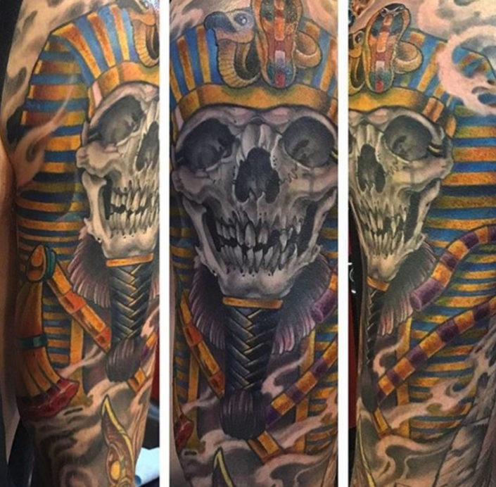 Dark/Horror Mythology Neo-Traditional Religious/Spiritual Skull Tattoo