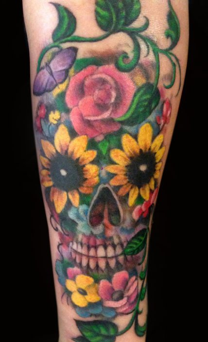 Catrina/Day of the Dead Flowers Skull Tattoo
