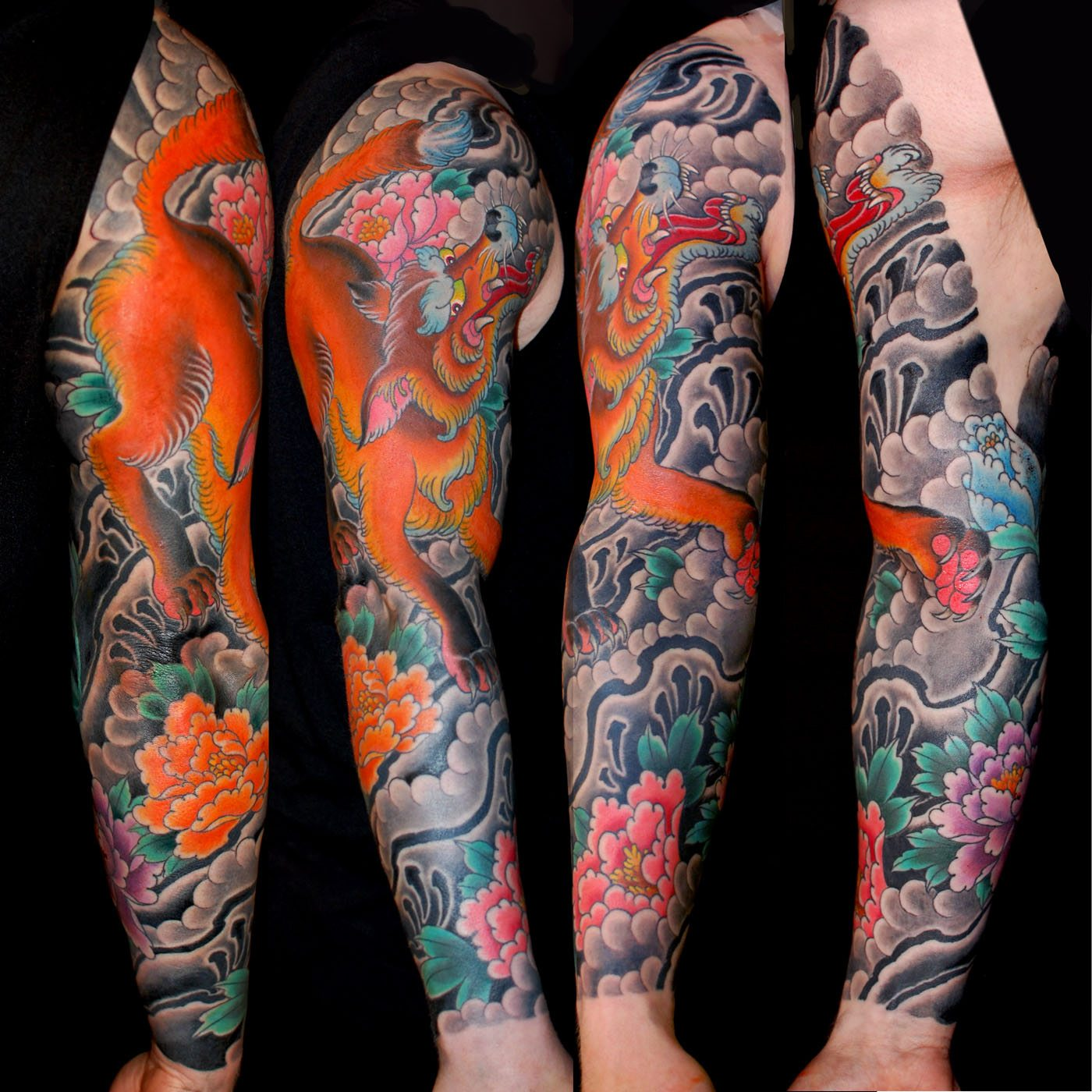 Japanese Style Sleeve Tattoo Flowers Koi Samurai: Animals Flowers Japanese Kitsune Sleeve Tattoo