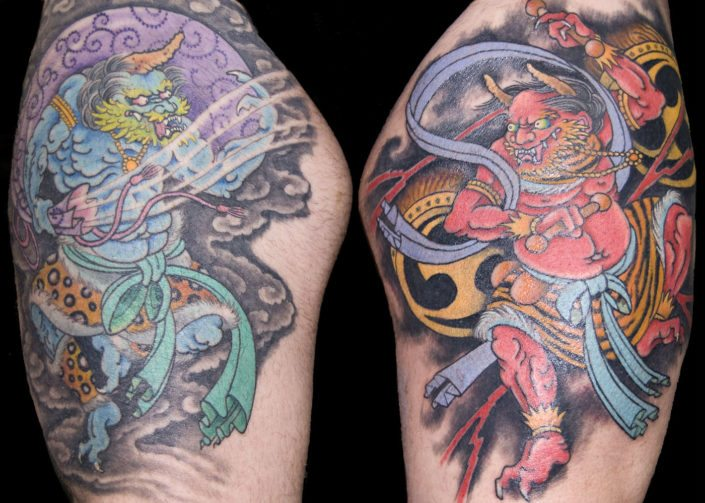 Japanese Leg Mythology Tattoo