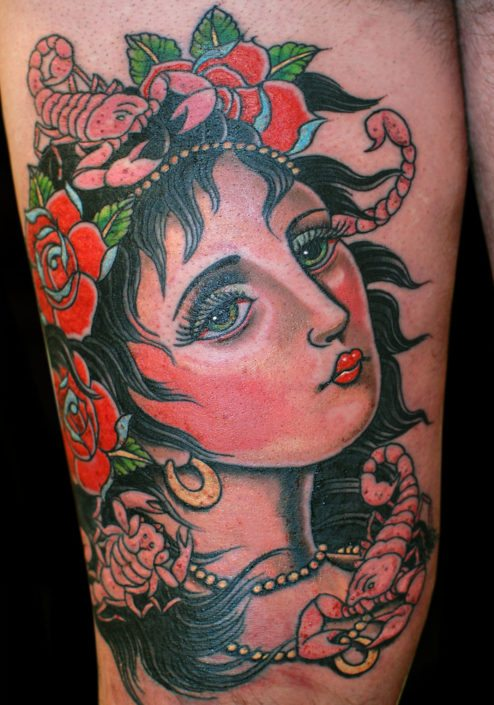 Flowers Girl Head Neo-Traditional Woman Tattoo