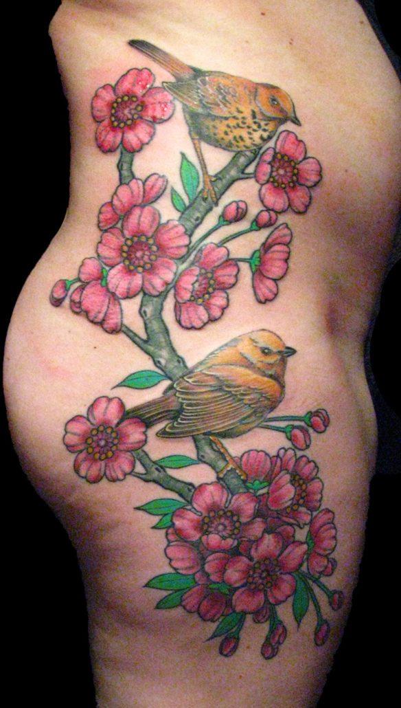 Birds Flowers Tattoo