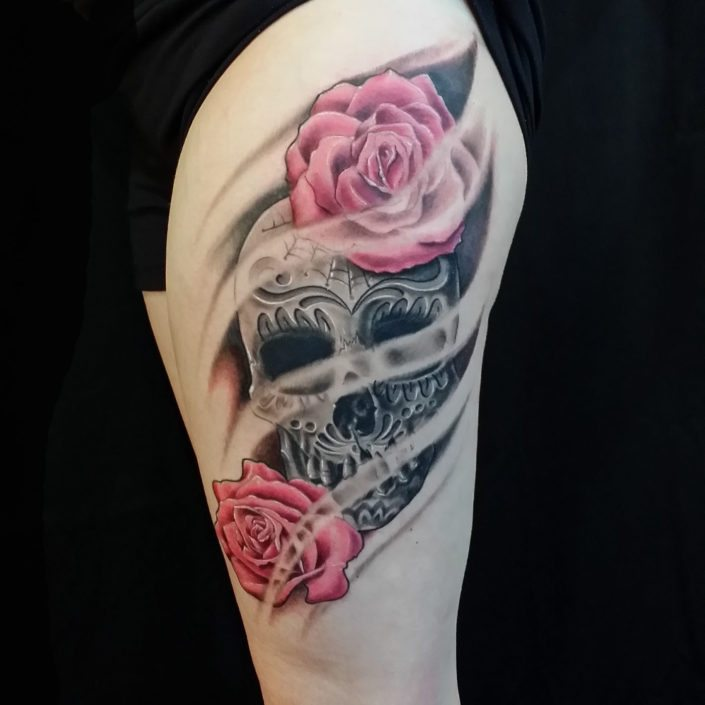 Catrina/Day of the Dead Flowers Tattoo
