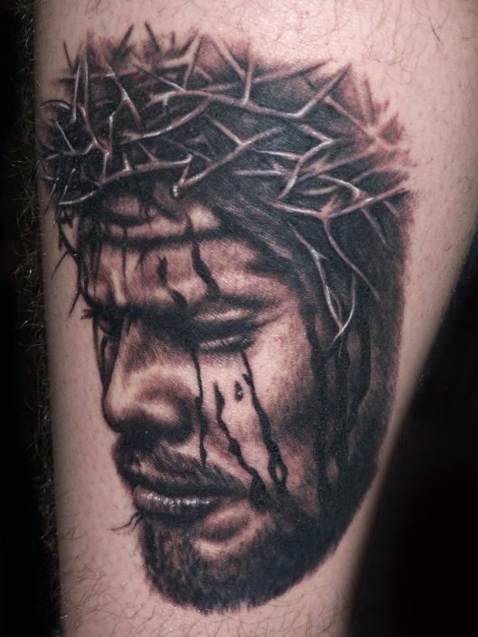 Black & Grey Portraits Realistic/Realism Religious/Spiritual Tattoo