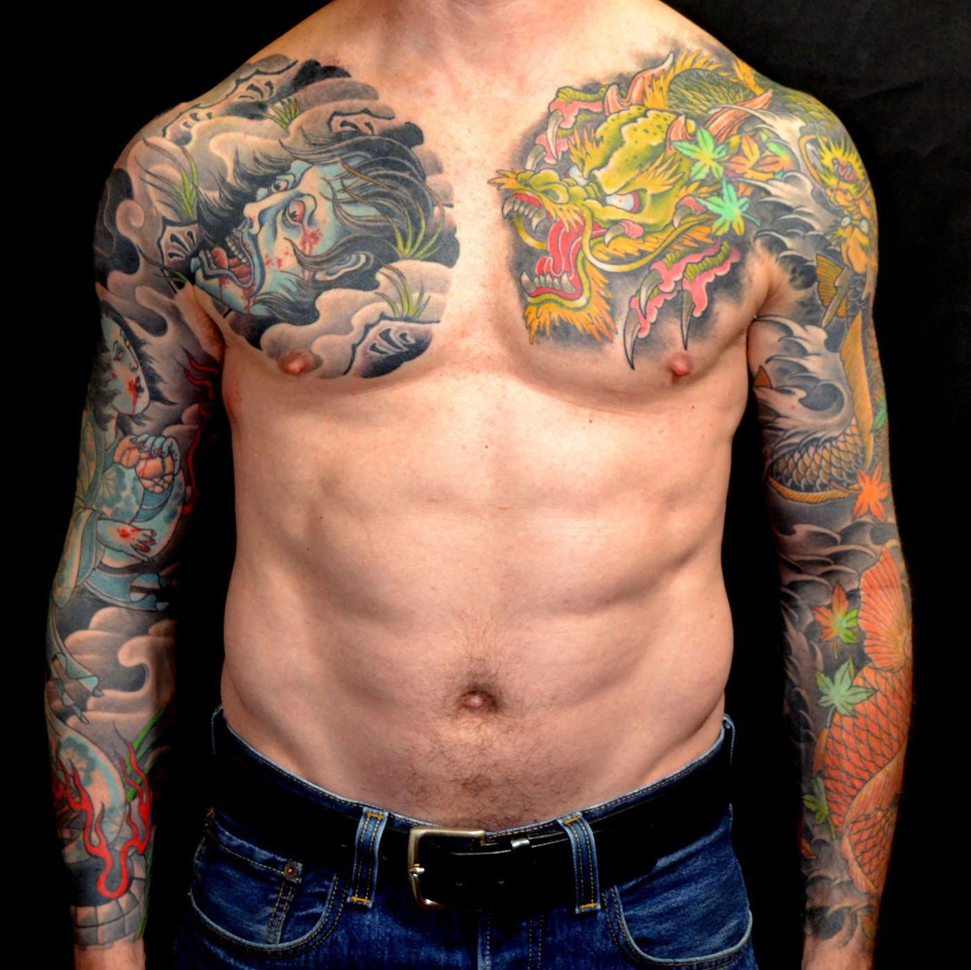 Chest Dragons Japanese Sleeve Tattoo