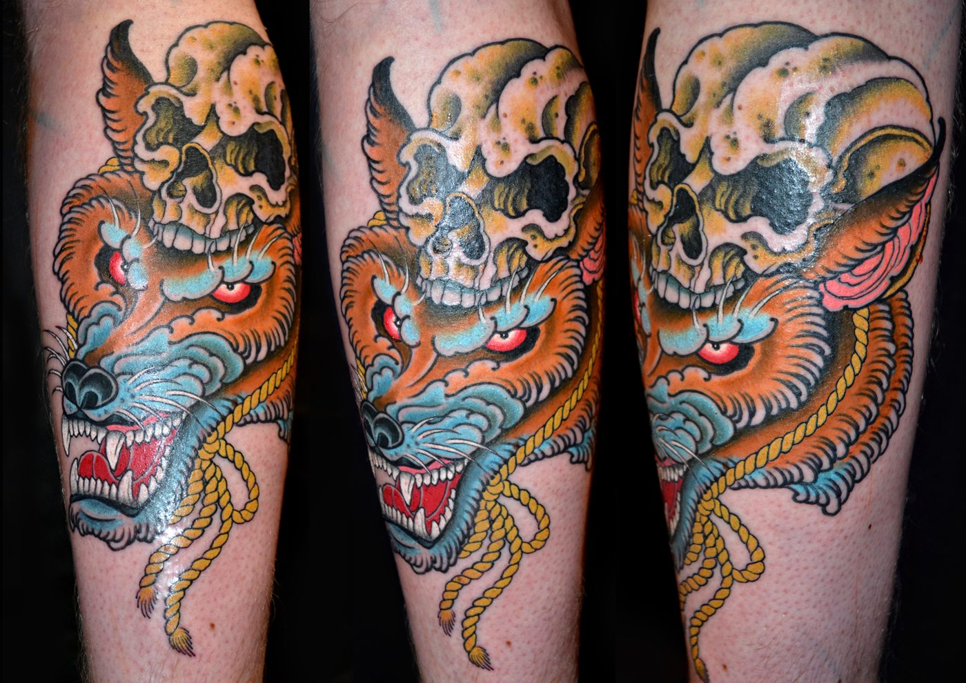 Traditional Kitsune Tattoo: Animals Japanese Kitsune Skull Tattoo