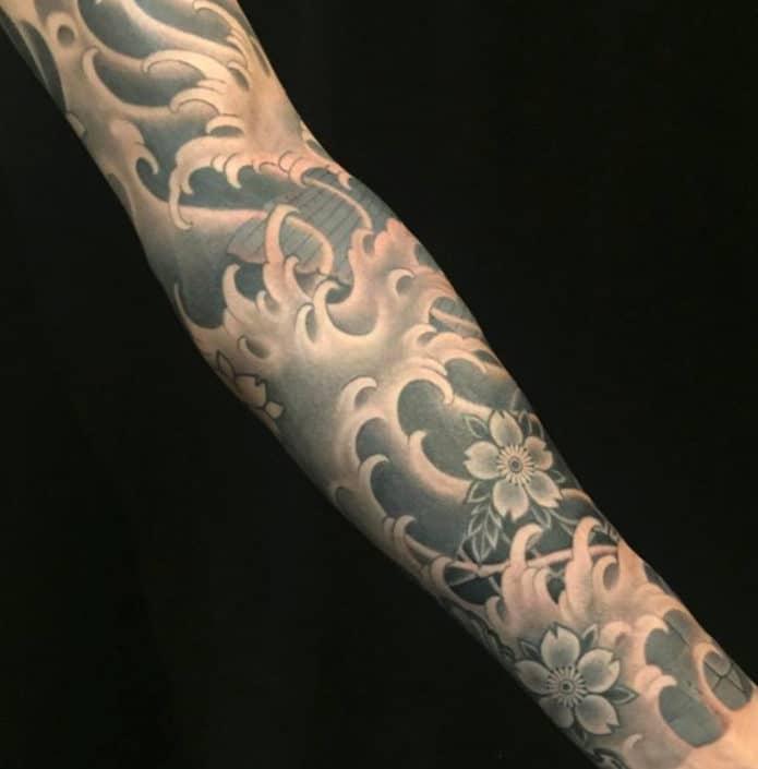 Black & Grey Japanese Sleeve Tattoo