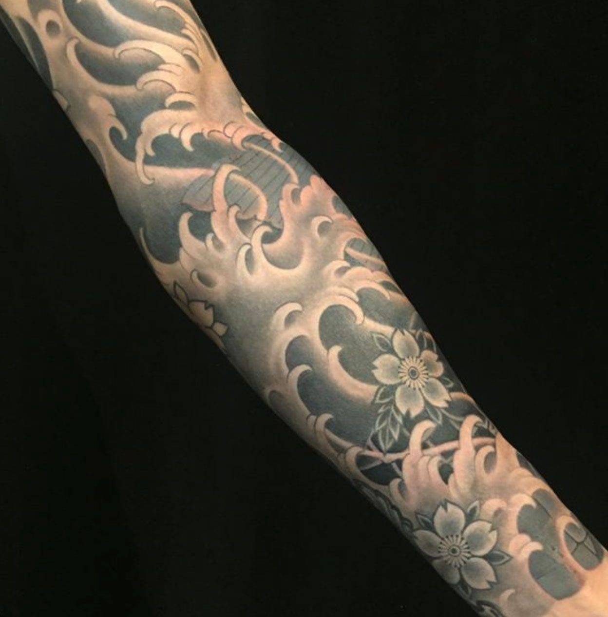Black Grey Japanese Sleeve Tattoo Slave To The Needle