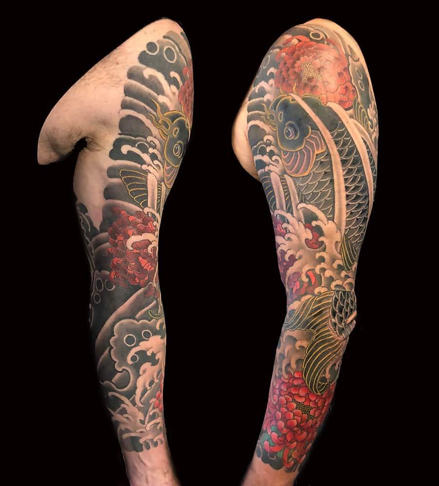 08a303a8c6458 Flowers Japanese Koi Sleeve Tattoo