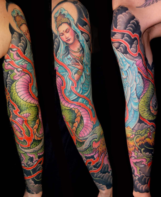 Japanese Religious/Spiritual Sleeve Woman Tattoo