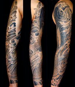Black & Grey Japanese Koi Sleeve Tattoo