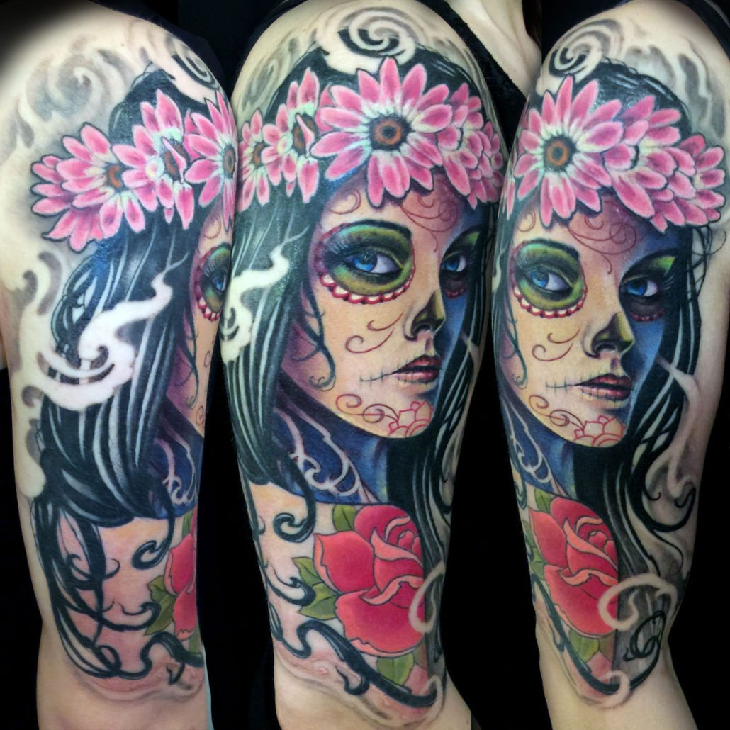 Arm Catrina/Day of the Dead Flowers Girl Head Realistic/Realism Woman Tattoo