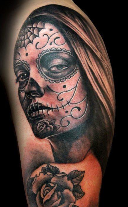 Black & Grey Catrina/Day of the Dead Dark/Horror Portraits Realistic/Realism Skull Woman Tattoo