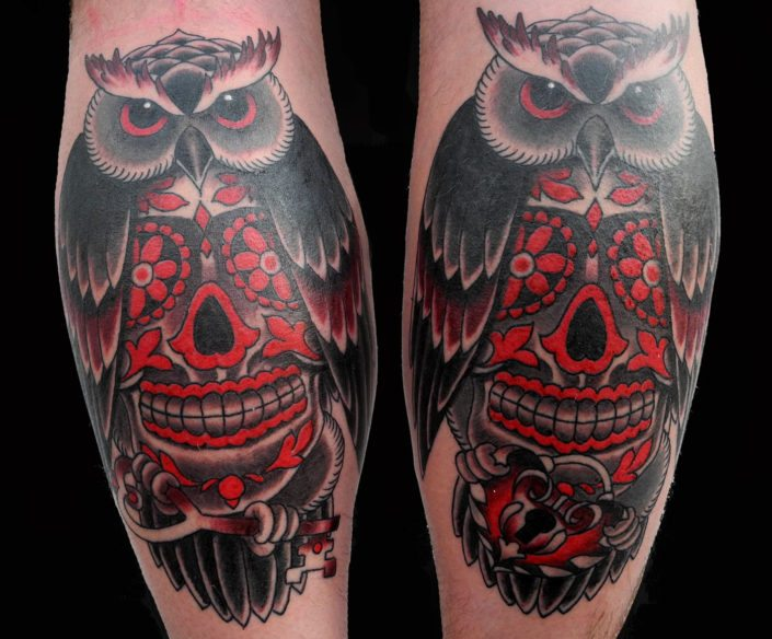 Catrina/Day of the Dead Leg Neo-Traditional Owl Tattoo