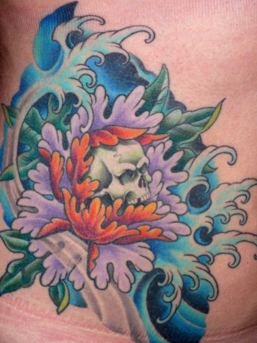 Flowers Japanese Skull Tattoo