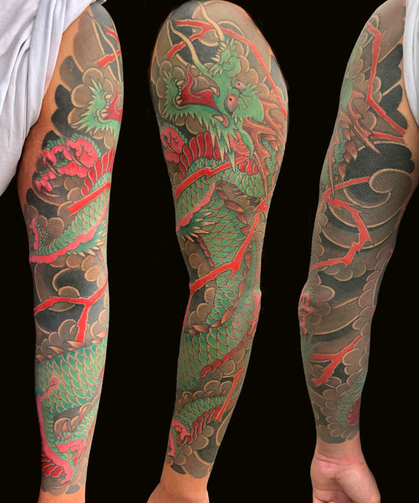 Dragons Japanese Sleeve Tattoo