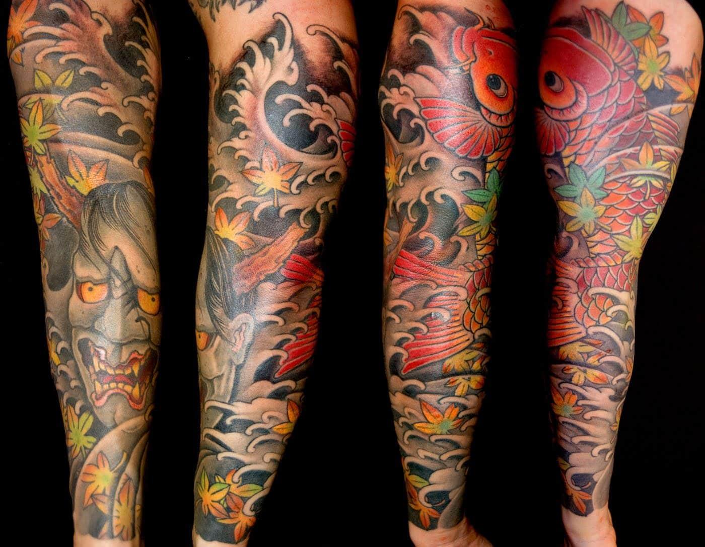 Hannya/Oni Japanese Koi Sleeve Tattoo