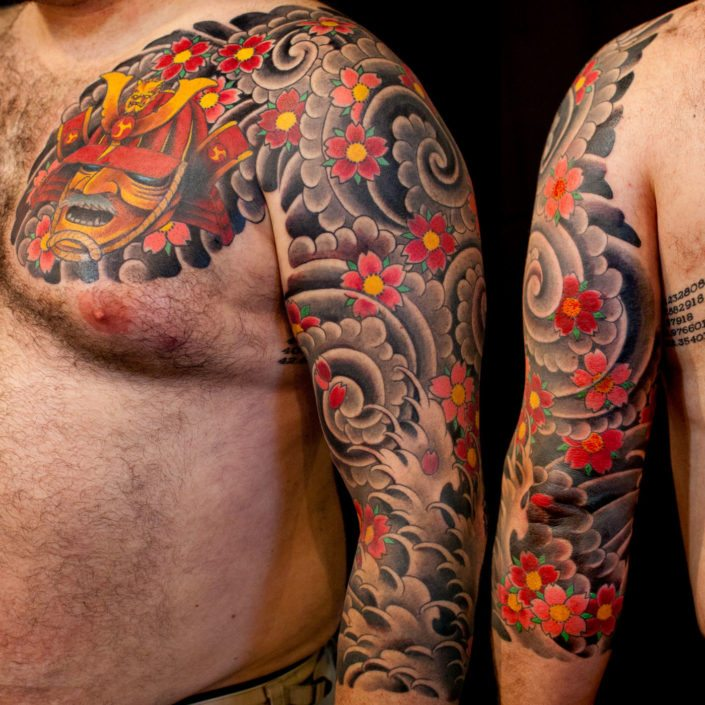 Chest Flowers Japanese samurai Sleeve Tattoo