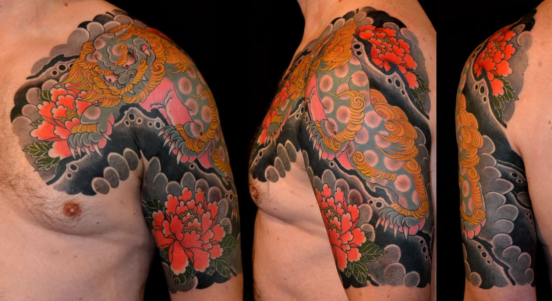 Animals Chest Flowers Japanese Lion Tattoo