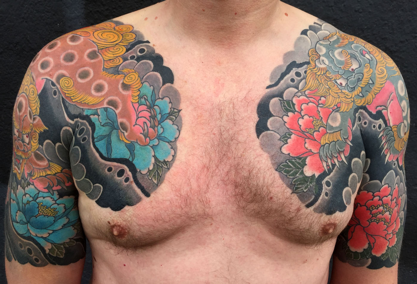Arm Chest Flowers Japanese Lion Tattoo