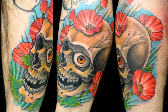 Flowers Skull Tattoo